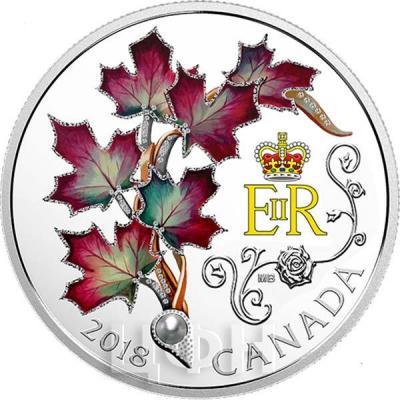 Канада 20 долларов 2018 «Ее Величество Королева Елизавета II Кленовые листья Брошь» (реверс).jpg