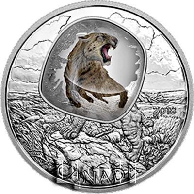 Канада 20 долларов 2018 «Саблезубый тигр» (реверс).jpg