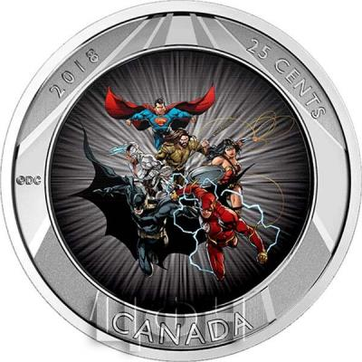 Канада 25 центов  2018 «Лига Справедливости» (реверс).jpg
