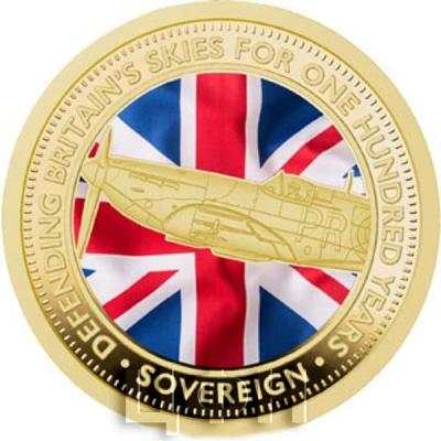 Тристан-да-Кунья 1 соверен 2018 «100 лет британским ВВС» (реверс).jpg