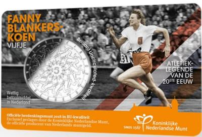 Нидерланды 5 евро 2018 год «Фанни Бланкерс-Кун» (реверс).jpg
