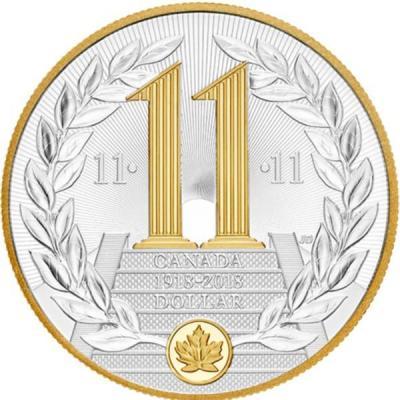 Канада 1 доллар 2018 «Первая мировая война. 100 лет Перемирию» (реверс).jpg