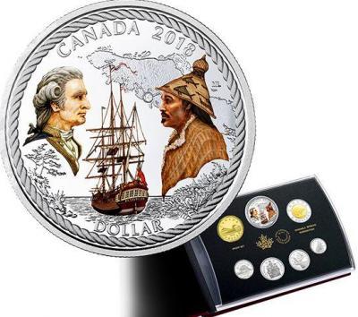 Канада 1 доллар 2018 год «240-летие прибытия капитана Кука на Нутку» (реверс).jpg