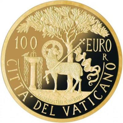 Ватикан 100 евро 2018 год «Апостольская Конституция» (реверс).jpg