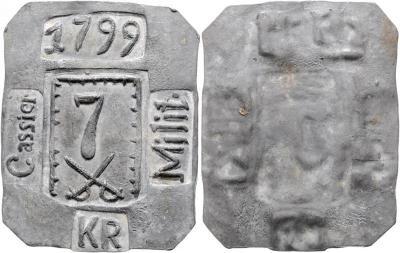 Römisch Deutsches Reich - Habsburgische Erblande Franz II. 1792 - 1806  7 Kreuzer 1799 Militärmarke in Blei, Belagerung der Festung Tyn, diese Objekte wurde vom Militär-Kassier(Rechnungsf.jpg