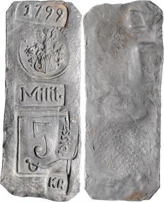5 Kreuzer 1799 Südböhmen, Belagerung der Stadt Tyn, Dm 74x28 mm.1799, behelm. Wappen, Milit., Cassier, 7 über Säbel, KR. Her.- 31.72 g. vzstgl.jpg