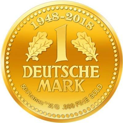 Бурунди 50 фракков КФА 2018 год «70 лет немецкой марке» (реверс).jpg