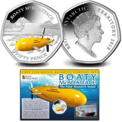 Британская антарктическая территория 50 пенсов 2018 год «Boaty McBoatface».jpg
