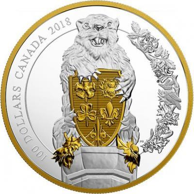 Канада 100 долларов 2018 год «Бобр» (реверс).jpg
