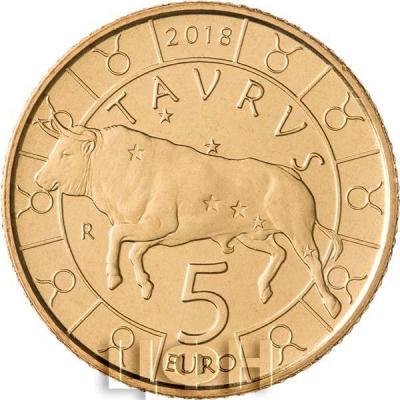 Сан Марино 5 евро 2018 год «Телец» (реверс).jpg