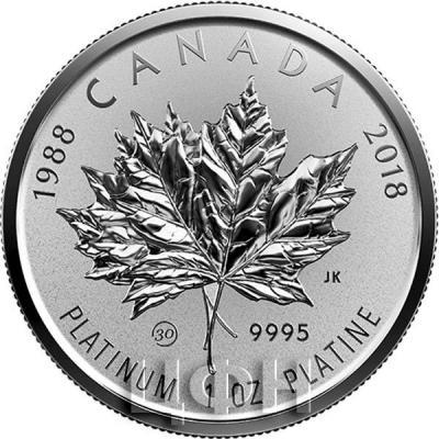 Канада 25 долларов 2018 «Кленовый лист» (реверс).jpg