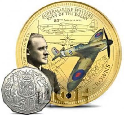 Тристан-да-Кунья 5 крон 2018 год «RJ Mitchell 1895-1937 Father of the Spitfire» (реверс).jpg