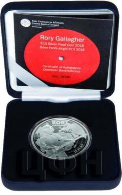 Ирландия 15 евро 2018 год серебро Рори Галлахер (реверс).jpg