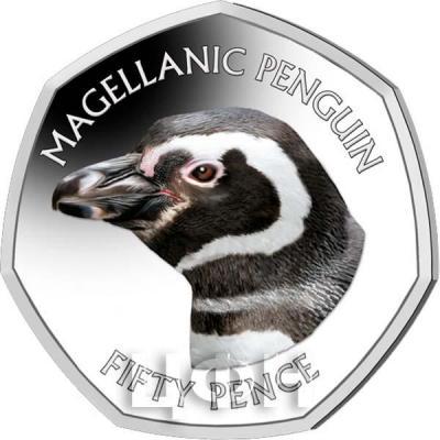 Фолклендские острова 50 пенсов 2018 «Магелланов пингвин» (реверс).jpg