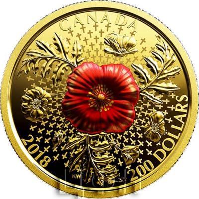 Канада 200 долларов 2018 год Красный мак (реверс).jpg