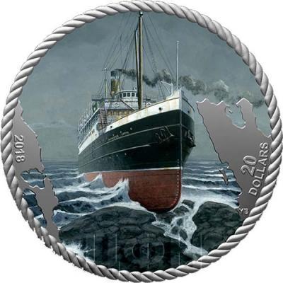 Канада 20 долларов 2018 год The Sinking of the SS Princess Sophia (реверс).jpg