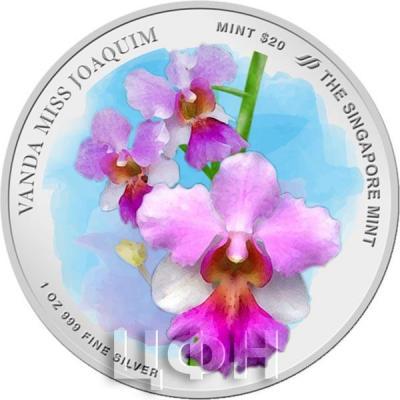 Сингапур 20 сингапурских долларов 2019 год  «Орхидея Ванда мисс Джоаким» (аверс).jpg