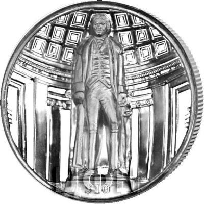 Британские Виргинские острова 10 долларов  2018 год «275-летие со дня рождения Томаса Джефферсона» (реверс).jpg