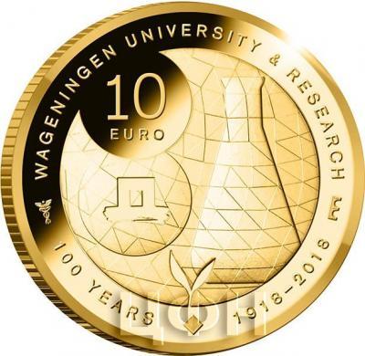 Нидерланды 10 евро 2018 год «100 лет Университету Вагенингена» (реверс).jpg