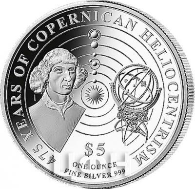 Соломоновы острова 5 долларов 2018 год «Коперник» (реверс).jpg
