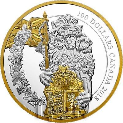 Канада 100 долларов 2019 год «Лев» (реверс).jpg