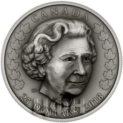 Канада 25 долларов 2018 год «Елизавета II» (реверс).jpg