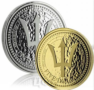 Барбадос 5 долларов 2018 год «Трезубец» (реверс).jpg