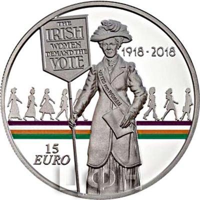 Ирландия 15 евро 2018  «100 лет с тех пор, как женщины получили право голоса» (реверс).jpg