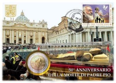 Ватикан 2 € 2018 «50 лет со дня смерти падре Пио» (numisbrief).jpg