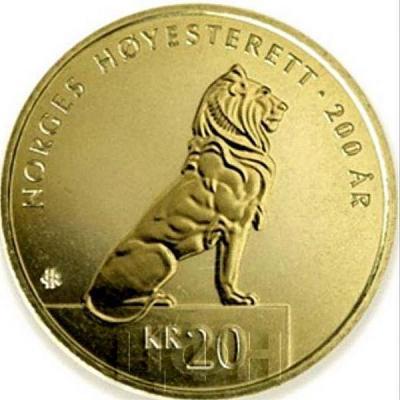 Норвегия 20 крон 2015 года. 200 лет Верховному Суду. (реверс).jpg