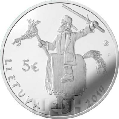 1. Литва 2019 год 5 евро - Масленица (аверс).jpg