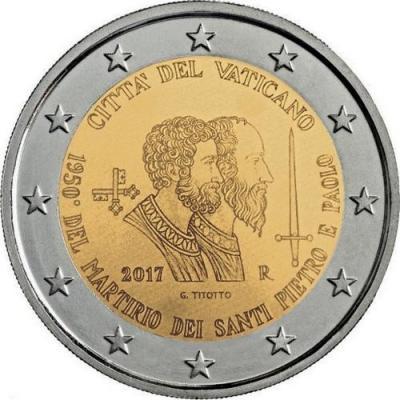2017, 2 евро Ватикан, памятная монета - «1950-летие мученической смерти святых Петра и Павла».jpg