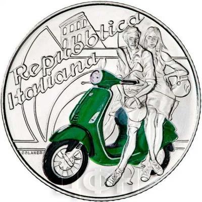 Италия 5 евро 2019 год «Веспа» (реверс).jpg