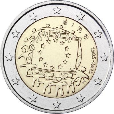 2015, 2 евро Ирландия, памятная монета - «30 лет флагу Европейского союза».jpg
