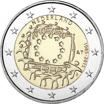 2015, 2 евро Нидерланды, памятная монета - «30 лет флагу Европейского союза».jpg