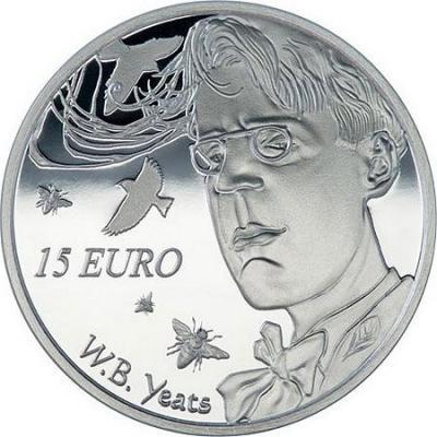 2015, 15 евро Ирландия, памятная монета - «150 лет со дня рождения Уильяма Батлера Йейтса» (реверс).jpg