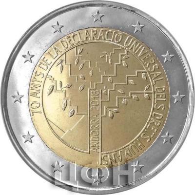 2018, 2 евро Андорра, памятная монета - «70 лет декларации прав человека».jpg
