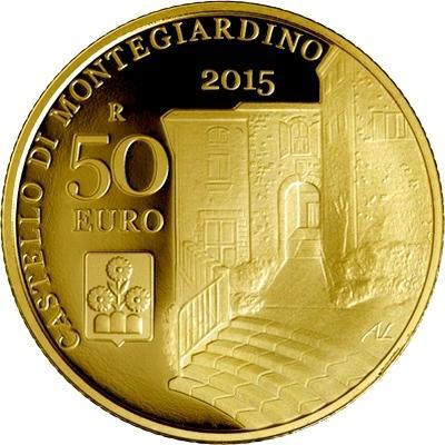 2015, 50 евро Сан-Марино, памятная монета - «CASTELLO DI MONTEGIARDINO», серия «Архитектурные элементы Сан-Марино» (реверс).jpg