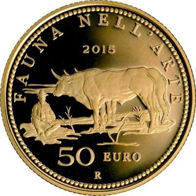 2015, 50 евро Италия, памятная монета - «Фауна в искусстве» (реверс).jpg