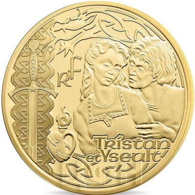 2015 год, 10 евро Франция, памятные монеты - «Тристан и Изольда», серия «Великие характеры французской литературы» (аверс).jpg