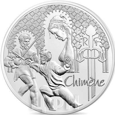 2015 год, 10 евро Франция, памятные монеты - «Химена», серия «Великие характеры французской литературы» (аверс).jpg
