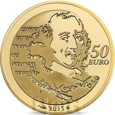 2015 год, 10 евро Франция, памятные монеты - «Химена», серия «Великие характеры французской литературы» (реверс).jpg