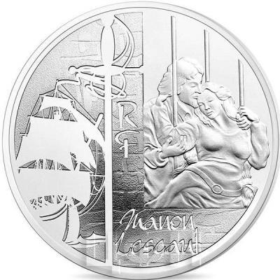 2015 год, 10 евро Франция, памятные монеты - «Манон Леско», серия «Великие характеры французской литературы» (аверс).jpg