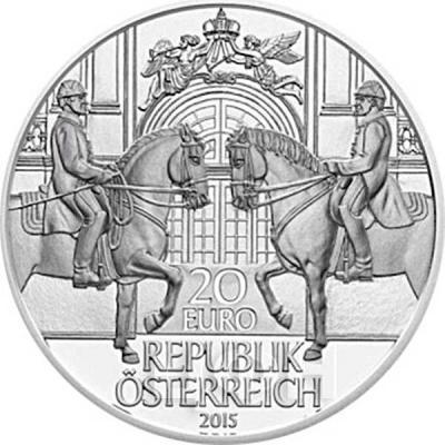 2015, 20 евро Австрия, памятная монета - «450-летие Испанской школы верховой езды» (аверс).jpg