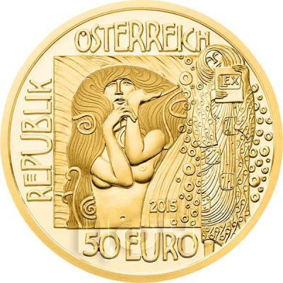 2015, 50 евро Австрия, памятная монета - «Климт. Медицина» (аверс).jpg