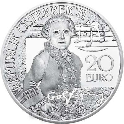2015, 20 евро Австрия, памятная монета «Вольфган- вундеркинд», серия «Моцарт» (аверс).jpg