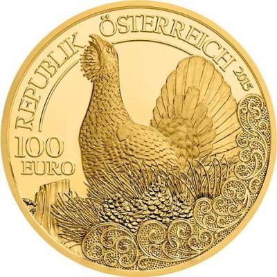 2015, 100 евро Австрия, памятная монета - «Глухарь», серия «Дикая природа» (аверс).jpg
