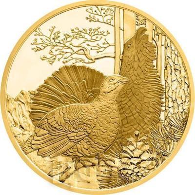 2015, 100 евро Австрия, памятная монета - «Глухарь», серия «Дикая природа» (реверс).jpg