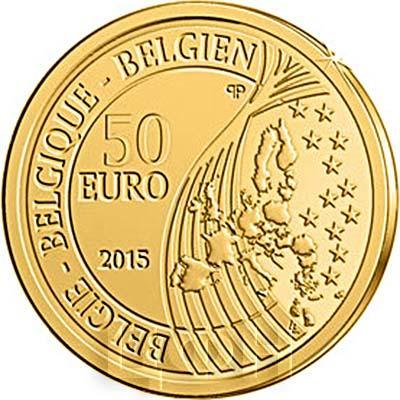 2015, 50 евро Бельгия, памятная монета - «70 лет мира в Европе»  (аверс).jpg