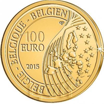 2015, 100 евро Бельгия, памятная монета - «Король Филипп» (аверс).jpg